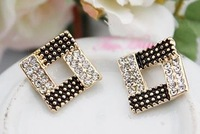 Free Shipping Charm Shinning Noble CZ Cube Lady's Favorite Fashion Silver Gold Earring Buy Get Free Gift