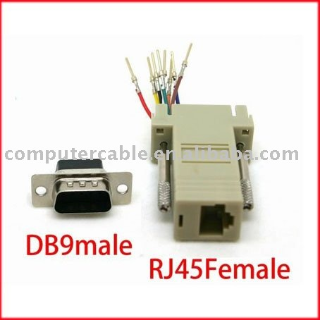 100pcs DB9 Male to RJ45 Female RS232 Modular Adapter(China (Mainland))