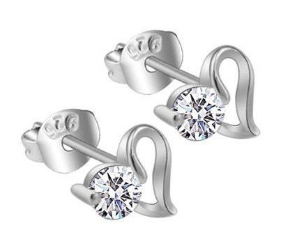 Discount Fashion 925 Sterling Silver Jewelry Earrings Heart Shape Simulated Diamond Stud Earring Women's Brand New 10pair/lot(China (Mainland))