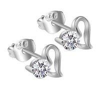 Discount Fashion 925 Sterling Silver Jewelry Earrings Heart Shape Simulated Diamond Stud Earring Women's Brand New 10pair/lot
