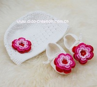 Free shipping Handmade Crochet Baby Hat Shoes Set