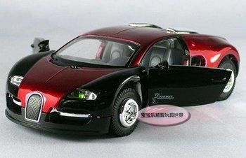 Free shipping car model Bugatti Veyron 1:32 children toy car 1:32 burgundy, sound and light alloy metal car model Xams gift