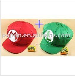 free shipping 2PCS/set  Super Mario Bros Anime Cosplay Hat Mario Luigi Cap '