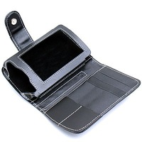 Black Leather Case with Belt Clip for Palm Tungsten T5 TX (Bi-Folder)
