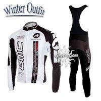 Free Shipping!! WINTER THERMAL CYCLING JERSEY+BIB PANTS BIKE SETS CLOTHES 2011 BMC-WHITE-SIZE:S-4XL