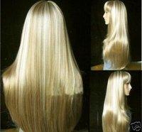 2014 Fashion long blonde straight human made hair wig
