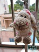 "NICI Pink flower sheep  Key Chain stuffed 4.5""NEW"