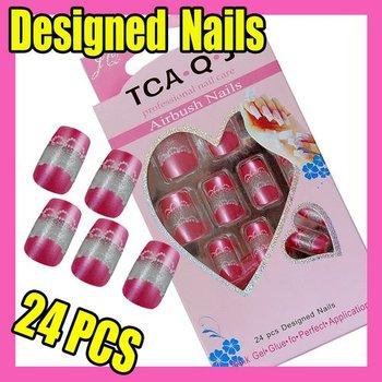 Fast & Free Shipping 24 Cute New Designed Nail Art Fake False Tips + Glue F307