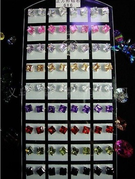 Wholesale - 6mm Copper square Color CZ earring stud earrings cubic zirconia 360pair /lot free shiping