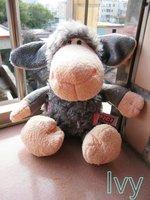 "NICI Pink Flower Gray Cloth Beige Sheep stuffed 9""new"