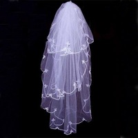 Wholesale - - WHITE LARGE WITH TRAIN AND LACE HEM WEDDING VEIL..1 TIER BRAND NEW-300CM