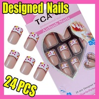 $10 off per $100 order Fast & Free Shipping Fashion 24 Red Nail Art French False Acrylic Tips + Glue F323