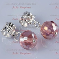 Free Shipping!Simple Dangle Pink Ball Faceted Crystal Glass Charm Beads a1088