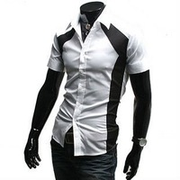 D14 Free Shipping New Mens Short Sleeves Slim Fit Stylish Dress Shirts Colour:White US Size:XS,S,M
