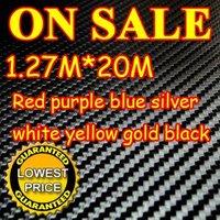 20M/LOT New 1.27X20M 3D Carbon Fiber Vinyl Car Sticker Guaranteed 100% PVC fiber car stickers 8 Colors Free EMS Shipping