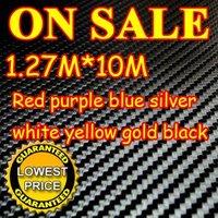 10M/LOT New 1.27X10M 3D Carbon Fiber Vinyl Car Sticker Guaranteed 100% PVC fiber car stickers 8 Colors Free EMS Shipping