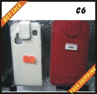 Free shipping --New high quality leather cover case for cellphone NOKIA C6