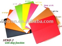 Freeshipping 100pcs Leather case with sleeping function For ipad 2