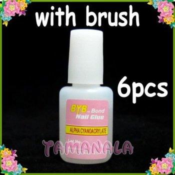6 x 10g Nail Glue False Tips Acrylic Nail Art w/ Brush