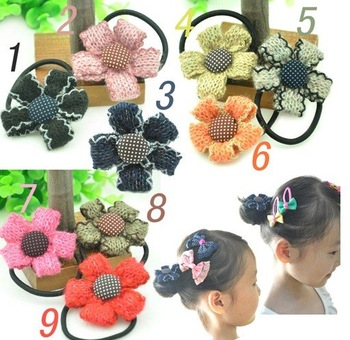 200pcs/lot mix color Girls' Hair Accessories Princess Sunflower hairpin hair clips hair rubber band flowers hair rope