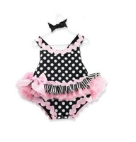 Free shipment Baby rompers one-pieces dots lace rompers 3pcs/lot wholesale 118