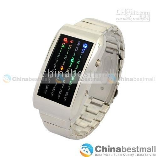 2 pcs Meteor 44 Multi- colored LED Digital Wrist Watch LED Watches with Stainless Steel Band(China (Mainland))