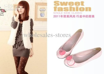 Flowers, coat of paint, round composite bottom, flat, single shoes with powder fashion