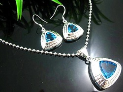OTSS6390 Blue topaz 925 silver filled jewelry set free shipping(China (Mainland))