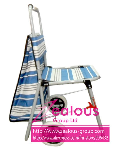 Free &amp; Fast shipping + Folding shopping trolley with Chair +Good quality + Low price!!(China (Mainland))