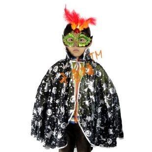 masquerade spirit festival Halloween silvery pumpkin short cloak +goose feather mask