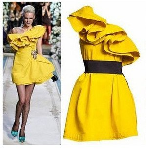 2011 New Fashion Women's Sexy One Shoulder Dress,yellow Skirt Party Dress,evening dresses+1pcs freeshipping