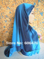Мусульманская одежда m597 latest design two layer muslim hijab mix colors fashion islamic hijabs
