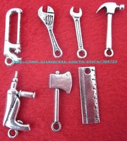 Free shipping 250pcs/lots antique silver mixed tools charms pendants /jewerly accessories