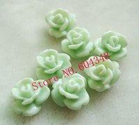 8MM Flower Shape Resin Beads, Fashion Resin Rose, Light Green, No Hole Paste Flower Handmade Jewelry Accessories, 100PCS/LOT
