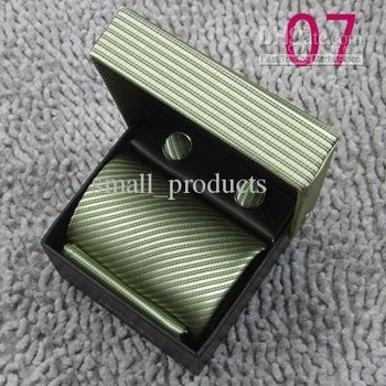 new Today Best handmade silk neck tie ties w/Handkerchief,Cuff links w/box - (50 pcs)2010