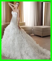 Free shipping wholes and retail strapless tulle ruffle beads mermaid wedding dress 2011 fantastica