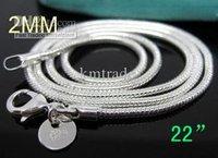 22 inch 20pcs/lot Bulk 925 silver fashion Venetian snake chain necklace hot sale 2MM