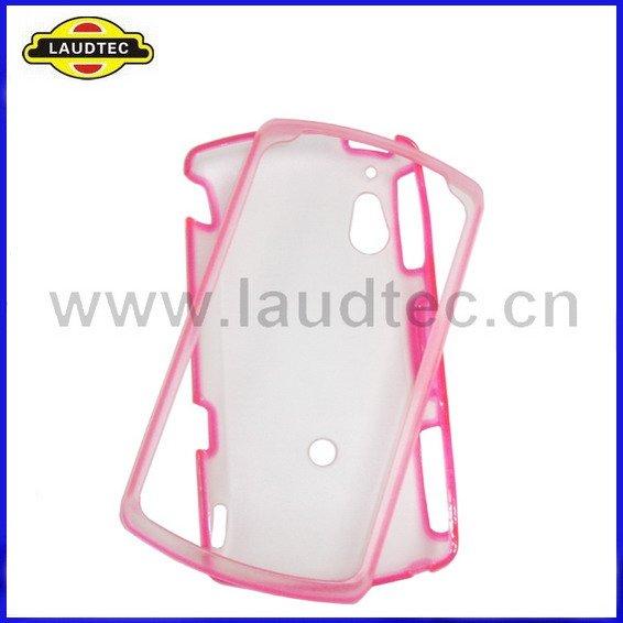 frete grátis 500pcs/lot pc+pink claro material tpu gel hard case capa para sony ericsson xperia arc x12(China (Mainland))