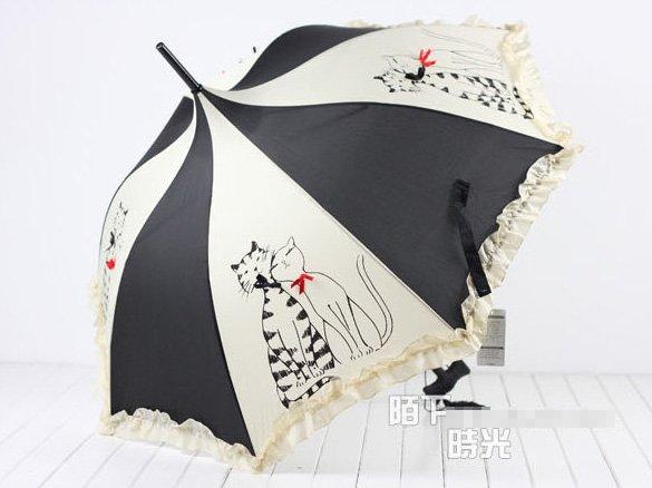 Parasol Umbrellas | Skull and Scrolls Black on Natural Paper