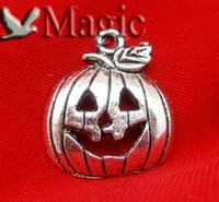 FREE SHIPPING 30 Silver Tone Halloween Pumpkin Charms Pendant Beads Jewelry Making Findings 18x16mm