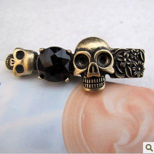 Free Shipping! Punk Style Vintage Retro Death's Head Skull Red Precious Stone Double Figures Ring As Gift/50pcs/lot(China (Mainland))