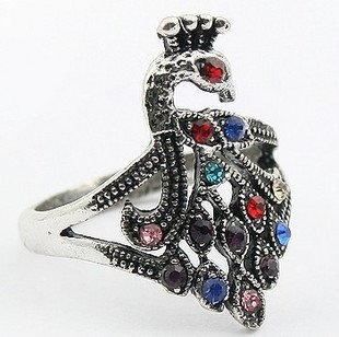 50pcs/lot Retro adorn article peacock set auger exaggeration ring,palace ring,fashion ring,women ring(China (Mainland))