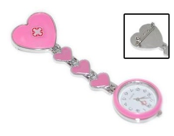 Free ship fee Charms PINK Nurse Four Heart Pendants Quartz Watch For doctor girl nurse Angell gift Watch K66