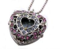 Free ship fee Charms 30 PCS PINK WHITE Zricon CZ Heart flower Pendants Quartz Watch pocket Watch Necklace watch K75