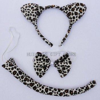 Free shipping Animal ear set (hairband,bow tie ,tail)/Leopard ear headband set/party wear /halloween party headband