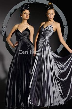 Pleated Elastic Satin Bridesmaid Dresses/Evening Dresses Empire Spaghetti Neckline(China (Mainland))
