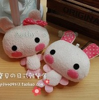 Cute, pink rabbit, mobile phone pendant ,cell phone pendant, hanging bag pendant(1 pairs/set) EMS disoucnt