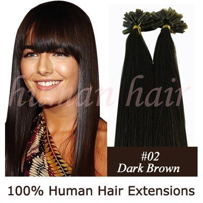 18inch 45 centimetros Queratina cola de unhas ponta extensões de cabelo Remy 0,5 g # 2 da cor escura marrom 100pieces(China (Mainland))