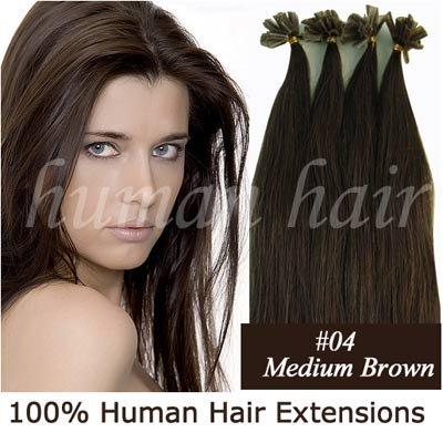 18inch 45 centimetros Queratina cola de unhas ponta extensões de cabelo Remy 0,5 g # 4 Medium cor marrom 100pieces(China (Mainland))
