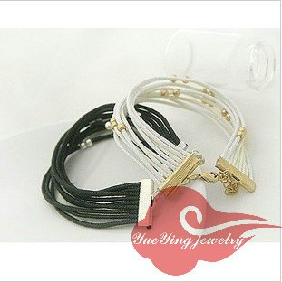 Noble and elegance style Cotton rope bracelets with charm beaed on the line